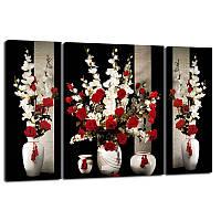 Триптих, картина, 50x80 см, 3 частини, квіти у вазі
