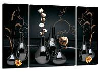 Триптих, картина, 50x80 см, 3 частини, квіти, ваза, чорний