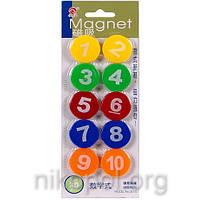"""Магніти для дошки """"Кольорові з цифрами"""",10 штук 3см"""