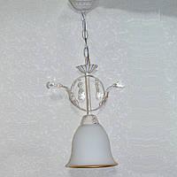 Люстра белая подвес белый матовый плафон золотой обод 1 лампа