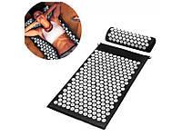 Ортопедичний килимок масажний ЧОРНИЙ Acupressure mat з подушкою, фото 1