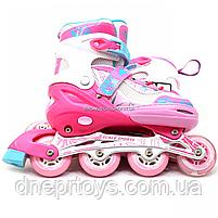 Ролики детские Scale Sports розовые, размер 29-33, металл, светящиеся колёса ПУ (LF967), фото 3