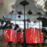 Люстра підвіс чорний червоні квадратні плафони 4 лампи