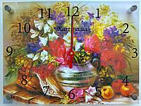 Годинник-картина 30x40 см, під склом, квіти