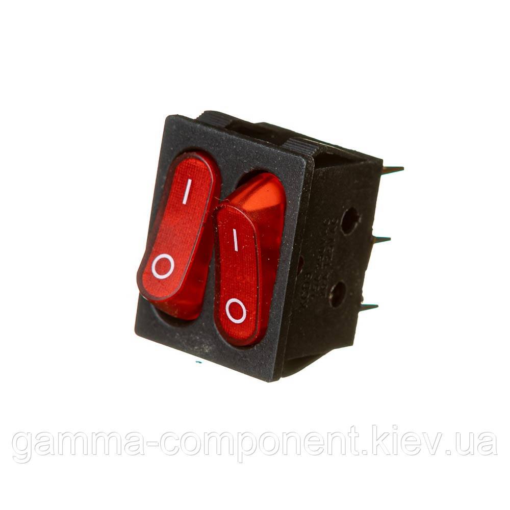 Перемикач KCD2-5-2101N 220V червоний