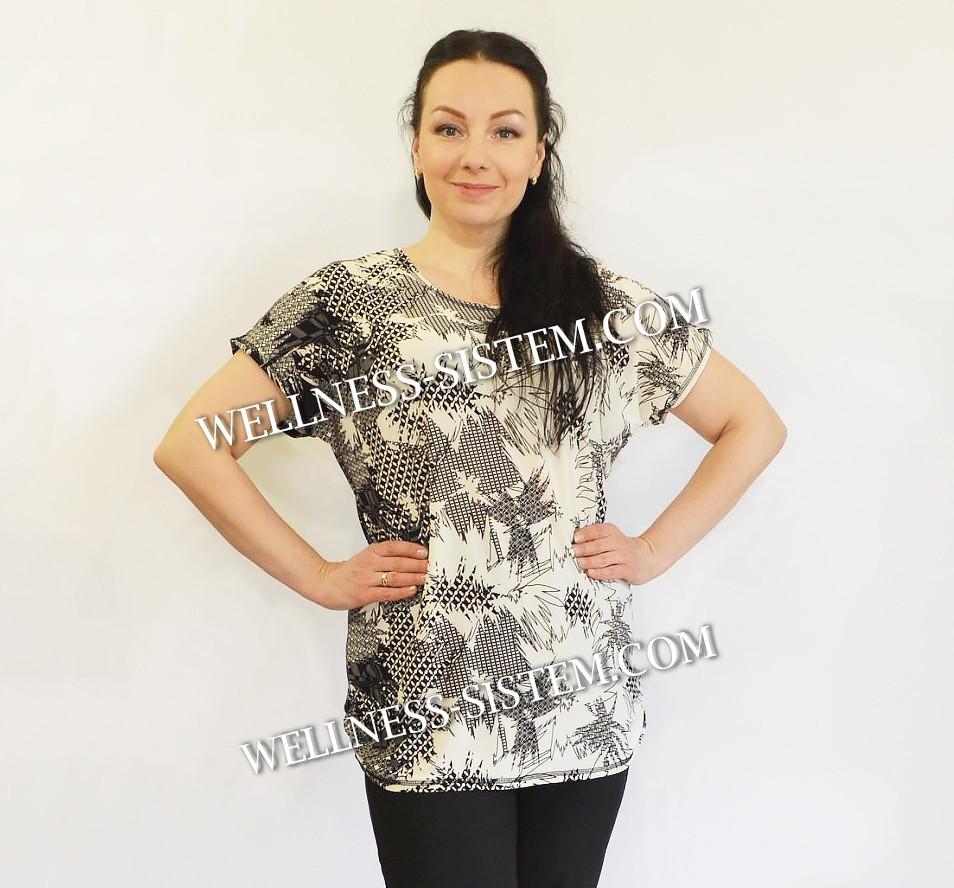 Туніка жіноча великий розмір  (50-64) білий з чорним
