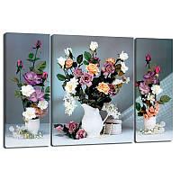 Триптих, картина, 50x80 см, 3 частини, квіти, квіти у вазі, троянди