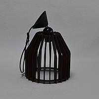 Люстра деревянная черная 1 лампа