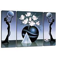 Триптих, картина, 50x80 см, 3 частини, фігури, квіти у вазі, піраміда