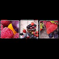 Триптих на полотні, картина, 30см*30 см*3шт, ягоди,малина, полуниця,ожина