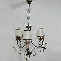 Люстра підвісна чорна металева з пташками 3 лампи