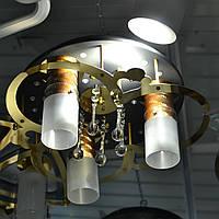 Люстра золотые вставки 3 лампы черная