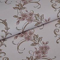 Обои для стен шпалери бежеві квіти вінілові на паперовій основі без підбору  світлі 0,53*10м