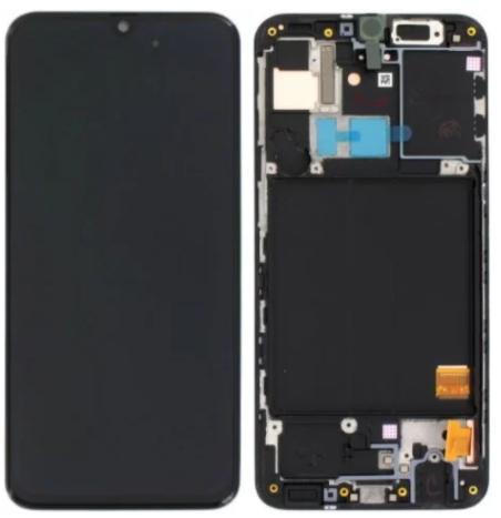 Дисплей (экран) для Samsung A315F Galaxy A31 с сенсором (тачскрином) и рамкой черный Amoled