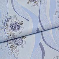 Обои для стен винил на флизелине голубые цветы волна 1,06*10м