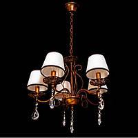 Люстра підвісна коричнева свічники з текстурними абажурами NS 6226/5