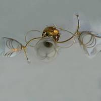 Люстра, 3 лампы, золото, фото 1