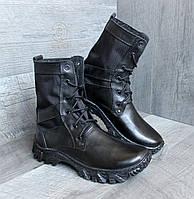 Ботинки женские армейские берцы кожаные черные DMS-6 тканевая вставка