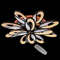 Люстра светодиодная с диммером и разноцветной подсветкой черное серебро 3 color
