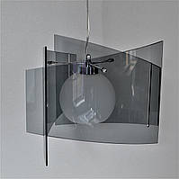 Люстра підвісна чорне скло 1 лампа біла