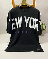 Чёрная стильная футболка оверсайз Eighteen Street Style New York | Турция | 100% хлопок, фото 1