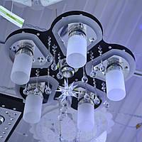 Люстра белые матовые плафоны 6 ламп черная