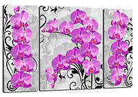 Триптих, картина, 50x80 см, картина, 3 частини квіти орхідеї