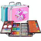 Художественный набор для рисования 145 предметов в алюминиевом чемоданчике РОЗОВЫЙ Единорог, фото 2
