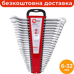 Набор комбинированных ключей 6-32 мм (25 ед.) INTERTOOL HT-1205, рожково-накидные ключи в держателе