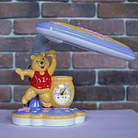 Лампа настольная, детская, Винни Пух, часы, высота лампы - 30 см