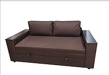 Небольшой двухместный компактный маленький диван-кровать КУБУС 140 мини-диваны 2 местные Коричневый