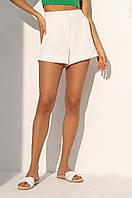 Короткие летние шорты из костюмной ткани с завышенной талией. Молочного цвета, фото 1