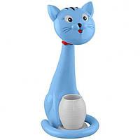 Лампа настольная светодиодная + ночник кот синий