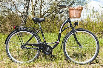 Велосипед женский городской VANESSA 28 Black с корзиной Польша