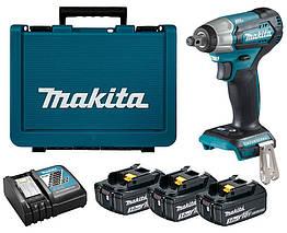 Аккумуляторный ударный гайковерт Makita DTW181RFE3 + 3 акб 18 V 3 Ah + з у DC18RC + кейс, КОД: 2367643