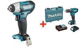 Аккумуляторный гайковерт Makita TW140DZ + акк шуруповерт HP333DWYE + 2 акб 12 V 1.5 Ah + з у + ке, КОД: