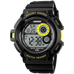 Часы электронные, спортивные Skmei 1222 (подсветка: 7 цветов), черный-желтый, в металлическом боксе