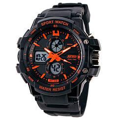 Часы спортивные Skmei 0990, черный-оранжевый, в металлическом боксе