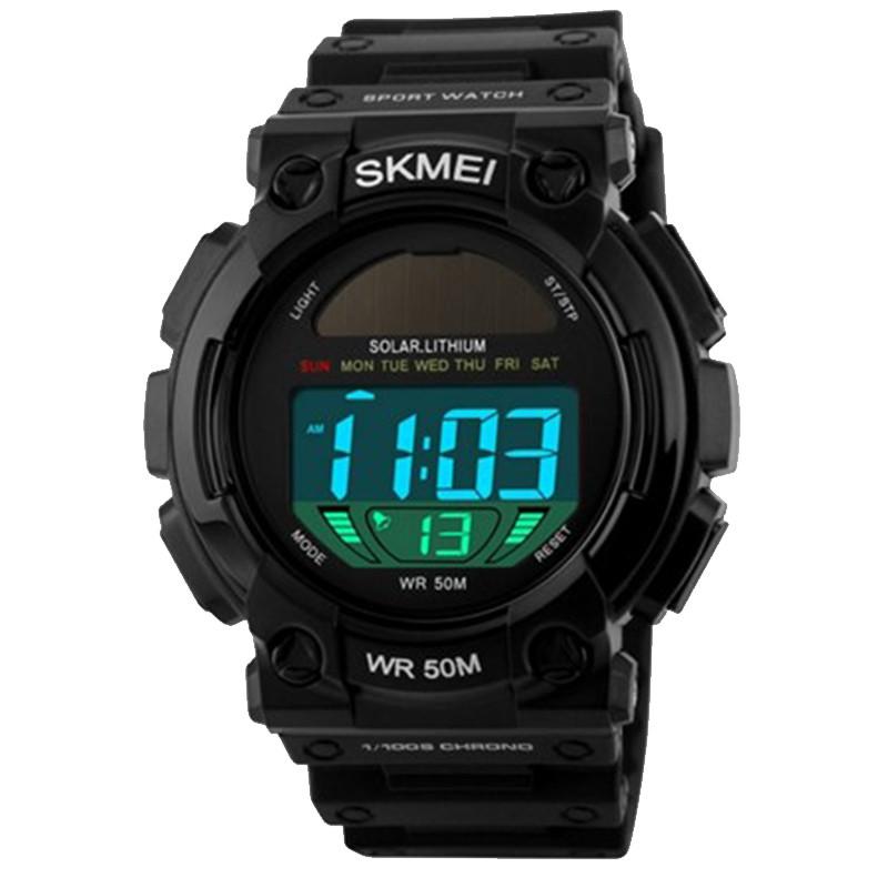 Часы электронные, спортивные Skmei 1126, черные, с солнечной панелью, в металлическом боксе