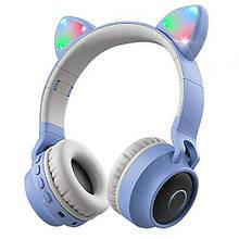 Подростковые, детские беспроводные светодиодные блютуз наушники Cat Ear BT028C Голубые