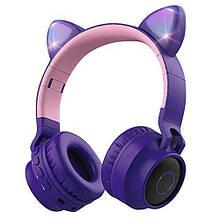 Подростковые, детские беспроводные светодиодные блютуз наушники Cat Ear BT028C Сиреневые