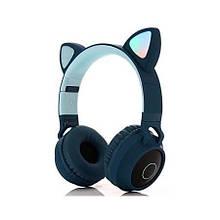 Подростковые, детские беспроводные светодиодные блютуз наушники Cat Ear BT028C Темно-зеленые