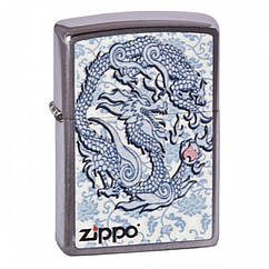 Зажигалка Zippo Dragon Reg Brush Chrome, 200.593