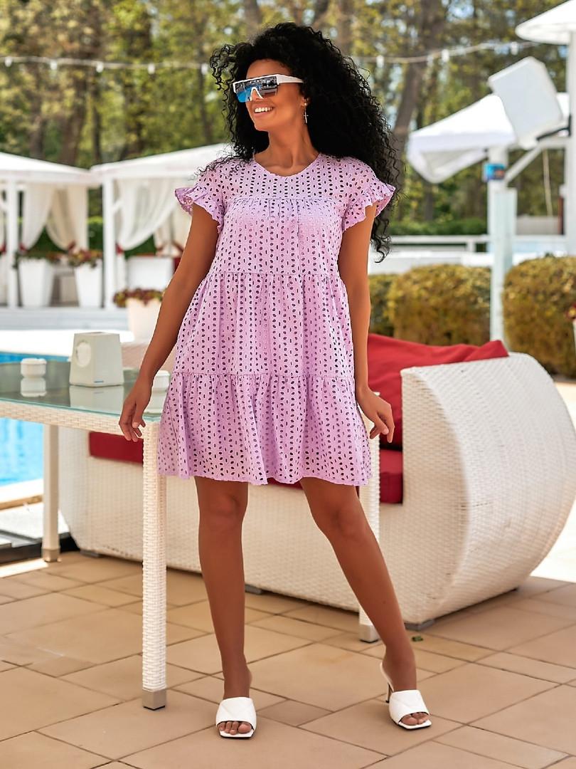 Молодёжное очаровательное воздушное платье А-силуэта из батиста и прошвы 42, 44, 46