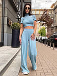 Костюм женский рубчик: топ с короткими рукавами и широкие штаны (в расцветках), фото 6