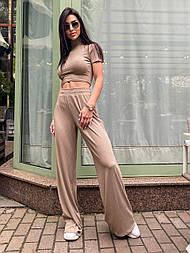 Костюм женский рубчик: топ с короткими рукавами и широкие штаны (в расцветках)