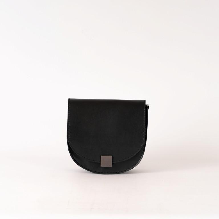 Чорна маленька жіноча сумка K68-20/2 крос-боді молодіжна через плече з клапаном на замочку