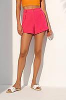 Короткие летние шорты из костюмной ткани с завышенной талией. Малинового цвета, фото 1