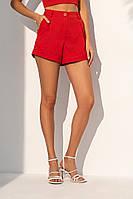 Короткие летние шорты из костюмной ткани с завышенной талией. Красного цвета, фото 1