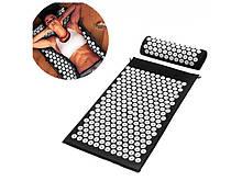 Ортопедичний килимок масажний ЧОРНИЙ Acupressure mat з подушкою
